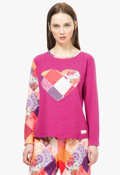Desigual living Bluza de casa fucsia cu imprimeu patchwork Romantic