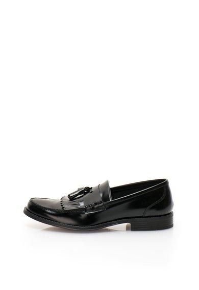 Pantofi loafer negri luciosi de piele de la Zee Lane
