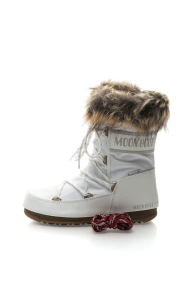 Ghete albe cu garnitura din blana sintetica Moon Boot