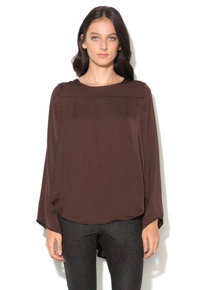 Bluza maro ciocolatiu cu decupaj in V pe spate Samina