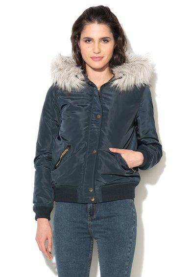 Jacheta albastru mineral cu vatelina si blana sintetica de la New Look