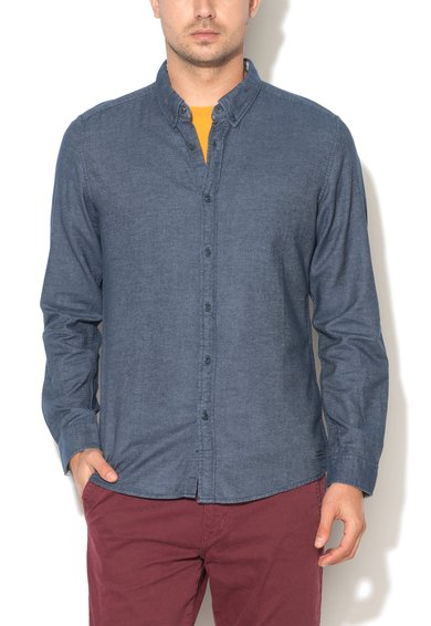 Camasa albastra din material chambray de la EDC by ESPRIT