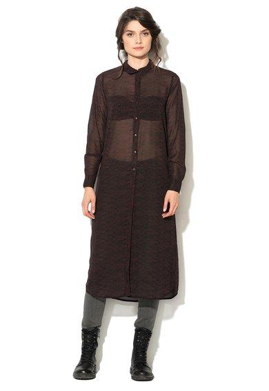 FashionDays.ro: Rochie tip camasa transparenta Bordeaux cu negru Blend She