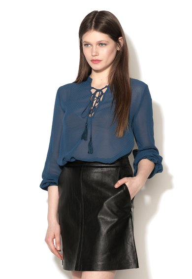 Pepe Jeans London Bluza bleumarin cu snur pe partea din fata Serena