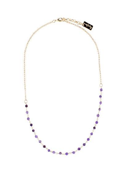 Colier auriu cu pietre purpurii de la Pepe Jeans London