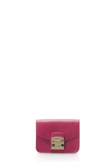 Furla Geanta crossbody roz zmeuriu de piele Are