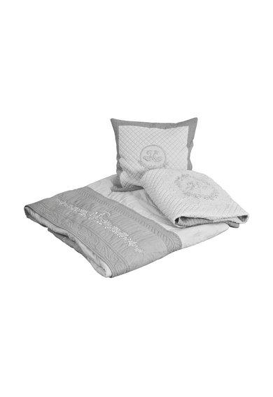 Cuvertura de pat in doua nuante de gri Boutis Roses de la Mathilde M
