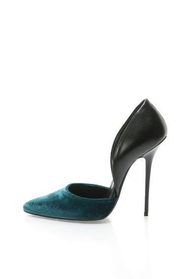 Pantofi D'Orsay negru cu albastru petrol Clara de la Zee Lane
