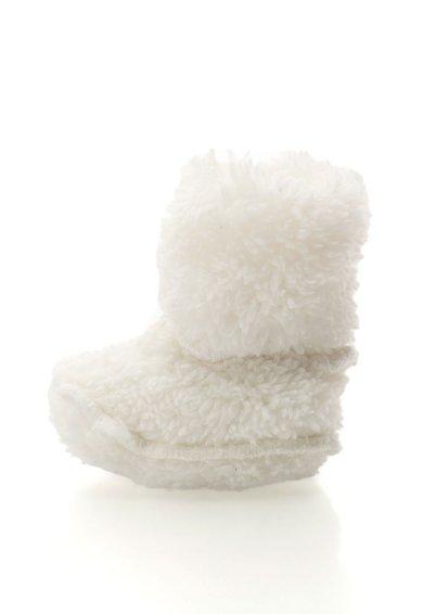 Cizme de casa albe din material teddy