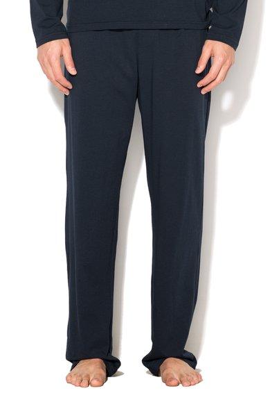 Pantaloni de casa bleumarin inchis cu verde menta de la Emporio Armani