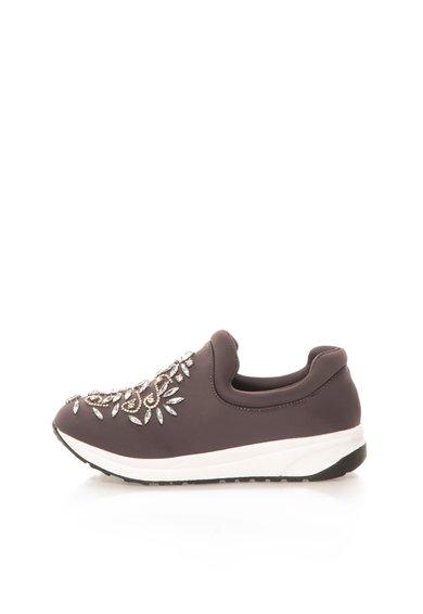 Pantofi slip-on gri antracit cu strasuri de la Oakoui