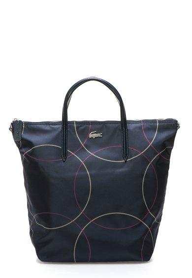 Geanta shopper neagra cu imprimeu grafic de la Lacoste