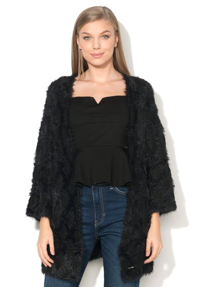FashionDays.ro: Cardigan negru pufos fara inchidere GUESS JEANS