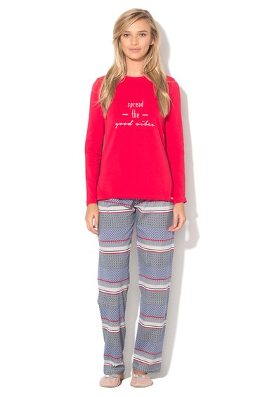 Pijama rosu cu nunate de albastru - 2 piese