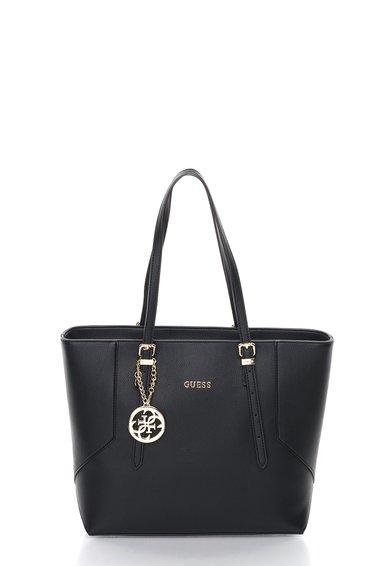 FashionDays.ro: Geanta shopper neagra cu pandantiv auriu cu logo GUESS