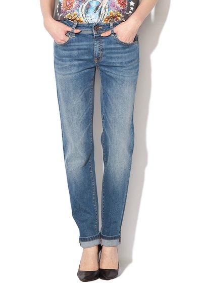 Just Cavalli Jeansi conici albastri cu aspect decolorat