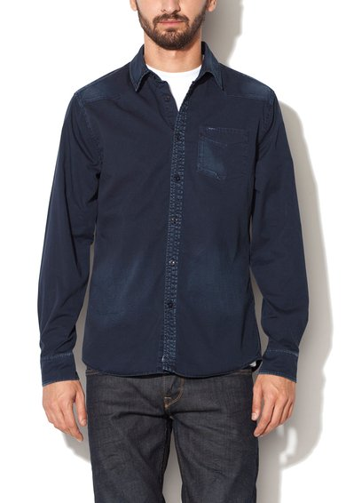 Pepe Jeans London Camasa slim fit bleumarin cu detalii decolorate Turnmill