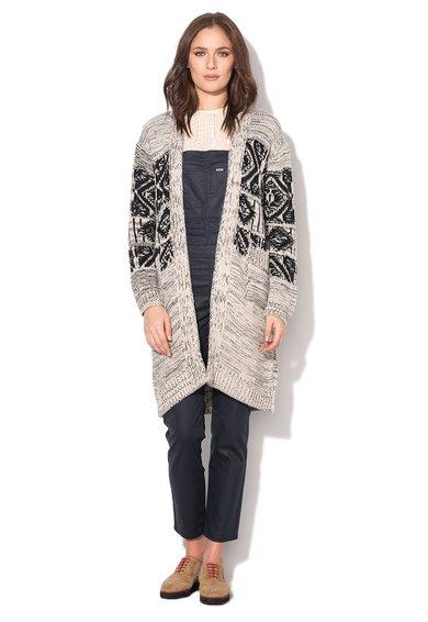 Cardigan lung tricotat negru cu alb prafuit Greta de la Pepe Jeans London