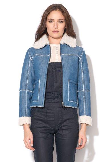 FashionDays.ro: Jacheta albastra din denim cu captuseala de teddy Saffie Pepe Jeans London