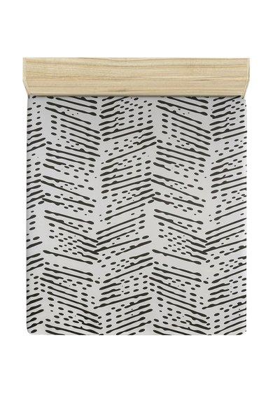 Cearsaf alb de pat cu imprimeu negru de la Leunelle