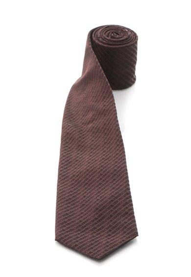 Cravata rosu Marsala inchis de matase cu model logo de la Roberto Cavalli