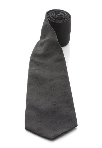 Cravata neagra de matase cu model logo