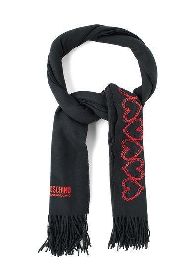 Fular negru de lana cu inimioare rosii de la Moschino Cheap and Chic