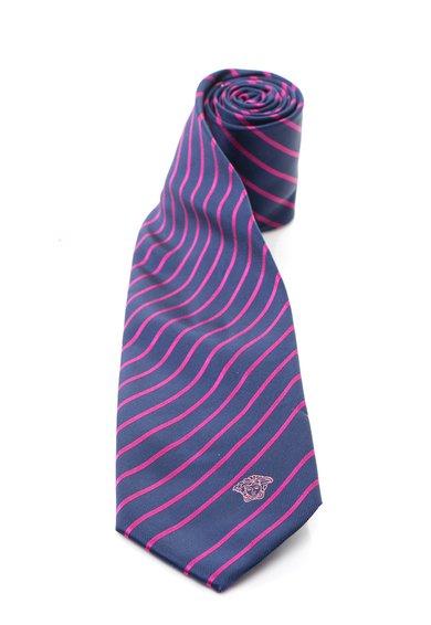 Versace Cravata albastru inchis cu fucsia de matase in dungi