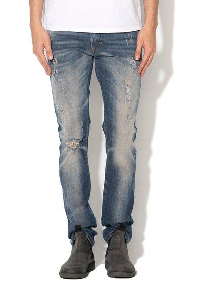 Diesel Jeansi skinny slim fit albastri cu aspect deteriorat Thavar