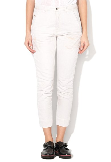 Diesel Jeansi chino slim fit alb prafuit cu aspect uzat