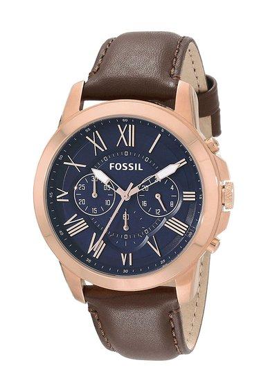 Fossil Ceas cronograf maro cu auriu rose