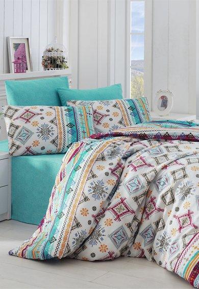 Leunelle Set de pat multicolor cu imprimeu geometric