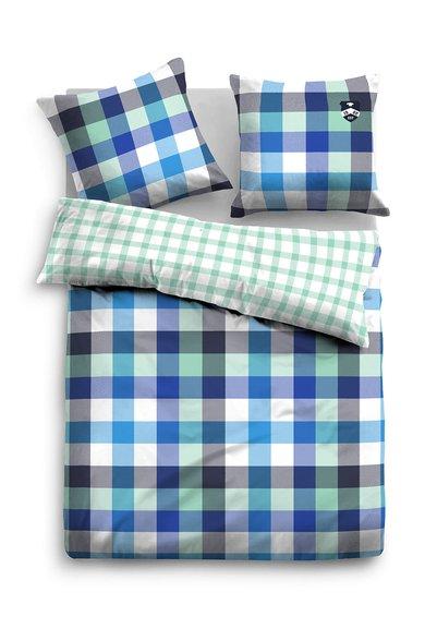 Tom Tailor Home Set de pat albastru cu verde cu model in carouri