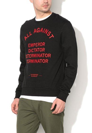 Eleven Paris Bluza sport neagra cu text rosu cusut Aperor
