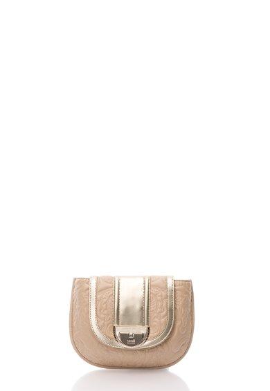 Geanta saddle roz pal cu auriu cu model cusut Diva de la CAVALLI CLASS