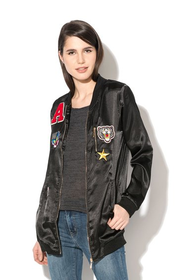 Hailys Jacheta bomber neagra de satin Betty