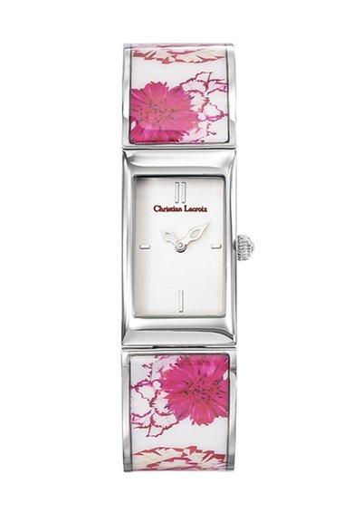 Christian Lacroix Ceas argintiu cu model floral