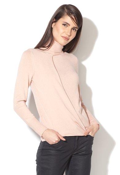 FashionDays.ro: Pulover tricotat fin roz pastel cu design suprapus Stefanel