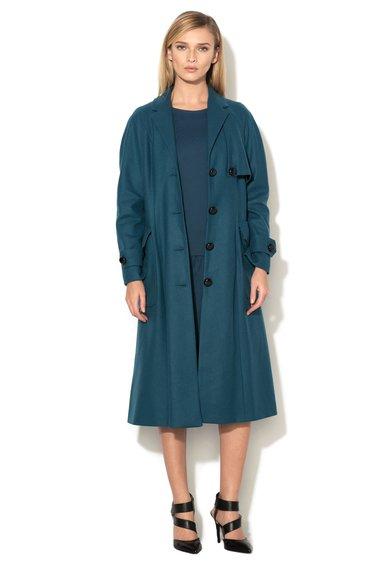 Haina lunga albastru petrol din amestec de lana de la Closet LONDON