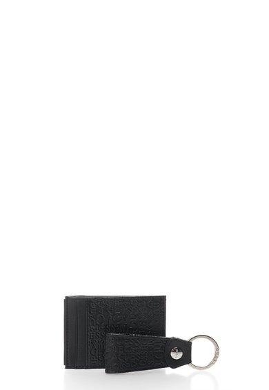 GUESS Set negru de piele cu portcart si breloc