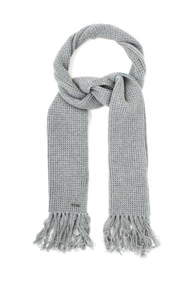 Fular gri carbune tricotat cu margini franjurate de la GUESS JEANS