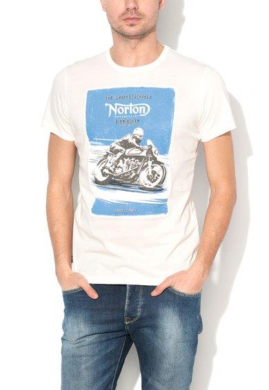 FashionDays.ro: Tricou alb unt cu imprimeu grafic Artie Norton