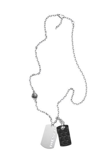 FashionDays.ro: Colier argintiu cu 2 pandantive Diesel