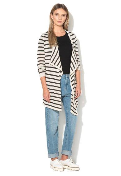 FashionDays.ro: Cardigan asimetric gri deschis cu gri inchis in dungi Altha Vero Moda