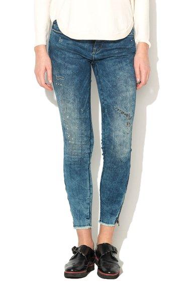 FashionDays.ro: Jeansi skinny albastri cu aspect deteriorat Carmen Only