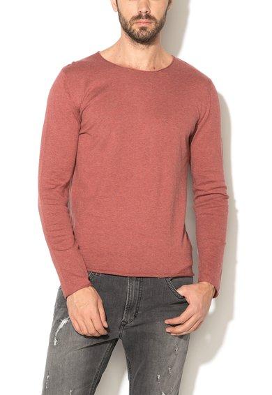 Pulover rosu terracotta melange tricotat fin Dome