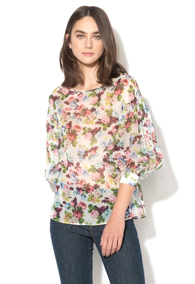 FashionDays.ro: Bluza alba de matase cu imprimeu floral Sagio Sportmax Code