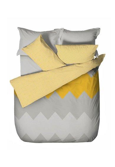 Leunelle Set de pat gri cu galben cu imprimeu geometric