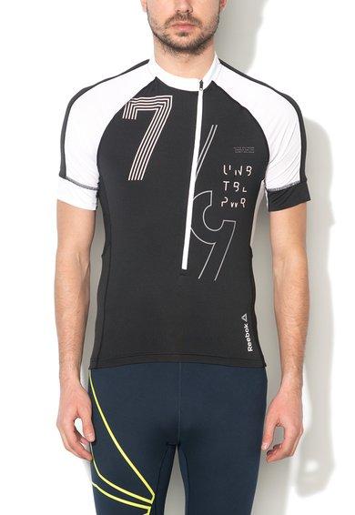 Reebok Tricou slim fit negru cu alb pentru ciclism de interior