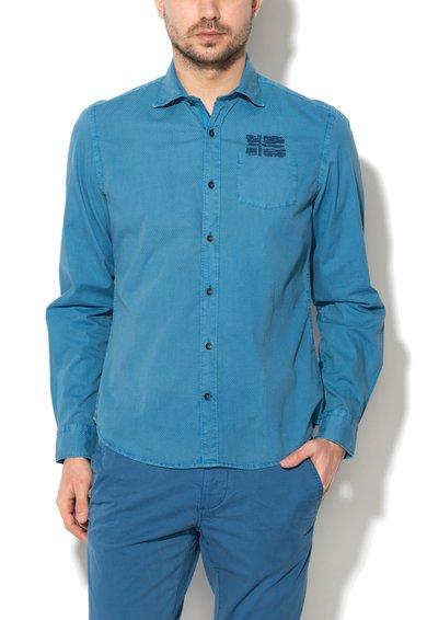 Camasa albastru teal slim fit texturata Gamka de la Napapijri